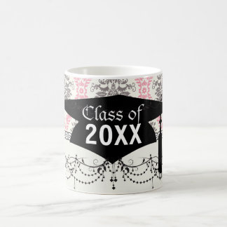 cream and grey tan damask bliss graduation basic white mug