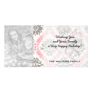 cream and grey tan damask bliss photo greeting card