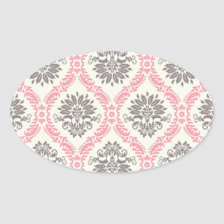 cream and grey tan damask bliss oval stickers