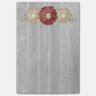 Cream and Maroon Daisy on Coutnry Wood Design Post-it® Notes