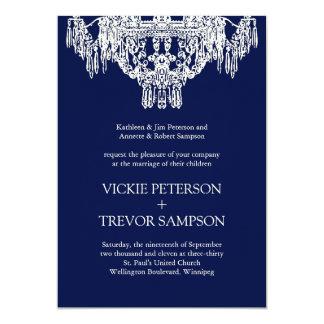 Cream and Midnight  Chandelier Wedding Invitations