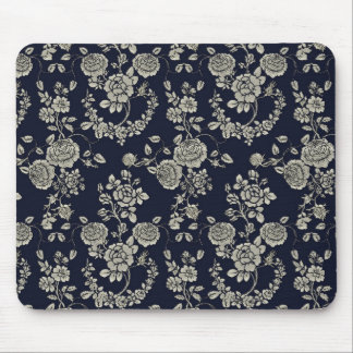 Cream and Navy Blue Floral Mouse Pad