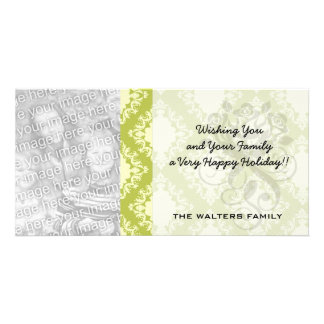 cream and olive diamond elegant damask photo card template