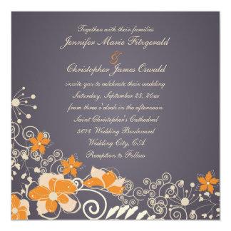 Cream and Orange Autumn Flowers Wedding 13 Cm X 13 Cm Square Invitation Card