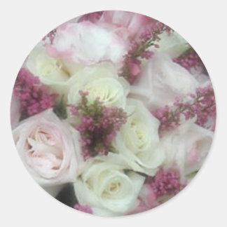 Cream and Pale Pink Rose envelope seals Round Sticker