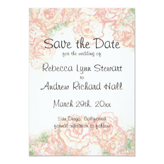 Cream and Pink Roses Save the Date Announcement