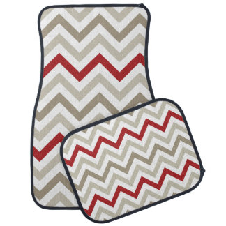 Cream and Red Chevron Car Mat