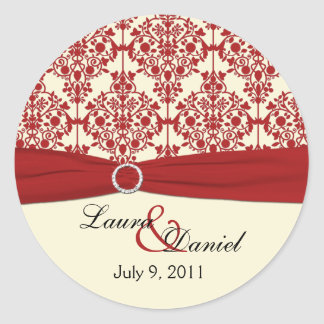 "Cream and Red Damask 1.5"" Round Sticker"