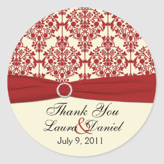 """Cream and Red Damask 1.5"""" Thank You Sticker"""