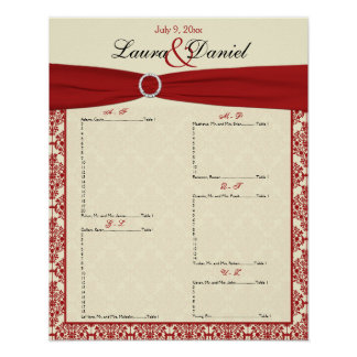 Cream and Red Damask Seating Chart Poster