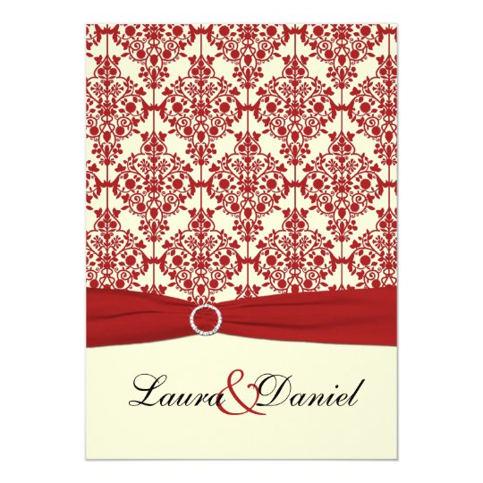 Cream and Red Damask Wedding Invitation