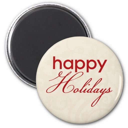 Cream and Red Happy Holidays Magnet