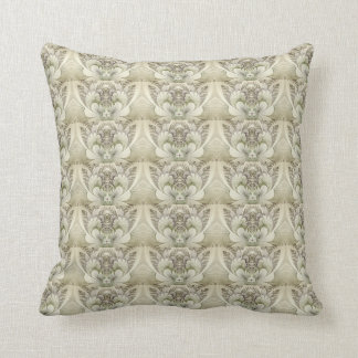 Cream and Taupe Swirl Floral Design Throw Pillow