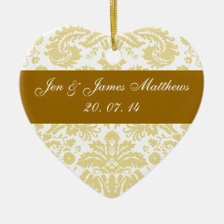 Cream and White Damask Wedding Favour Ornament