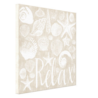 Cream Beige White Beach Shells Relax Canvas Print