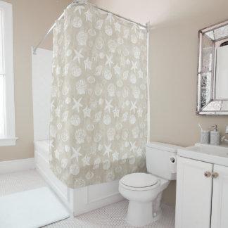 Cream Beige White Beach Shells Shower Curtain