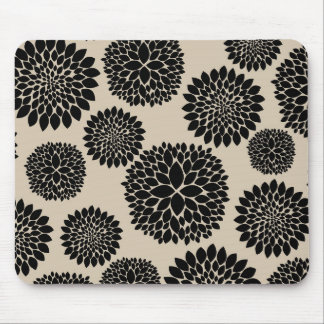 Cream Black Flowers Mouse Pad