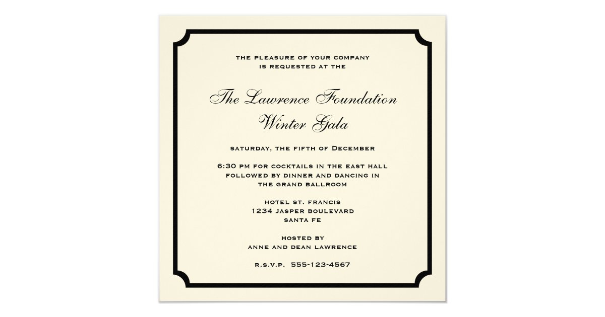 Office christmas party invitations announcements zazzle cream black square frame corporate holiday formal card stopboris Gallery