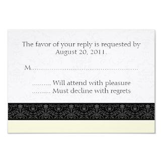 Cream Black & White Damask Wedding RSVP Reply Card