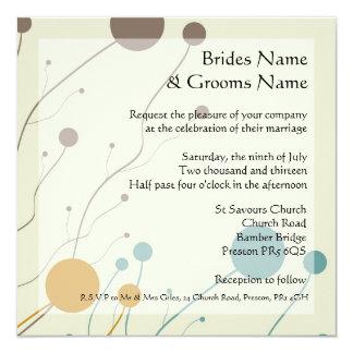 Cream, brown, orange and teal wedding intivations 13 cm x 13 cm square invitation card
