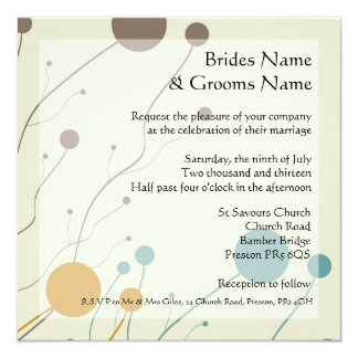 Cream, brown, orange and teal wedding intivations card