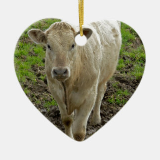 cream bull in water ceramic heart decoration