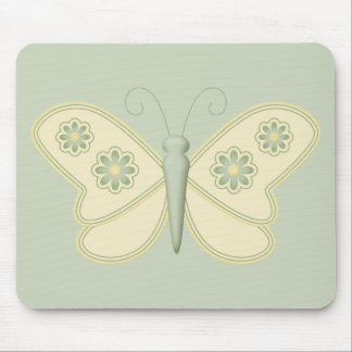 Cream Butterfly with Green Flowers Mouse Pad