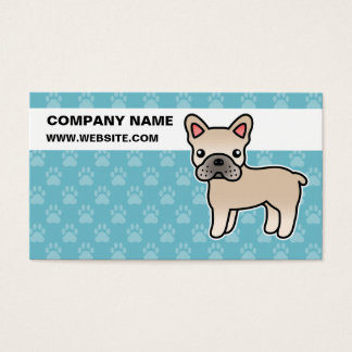 Cream Cartoon French Bulldog Business Card