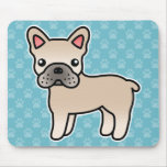 Cream Cartoon French Bulldog Mouse Pads