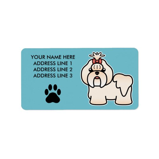Cream Cartoon Shih Tzu Address Label