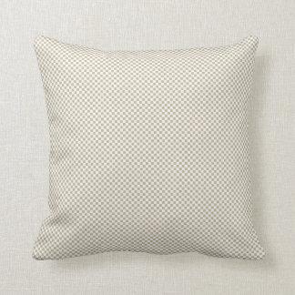 Cream Checker Pattern background Throw Pillows