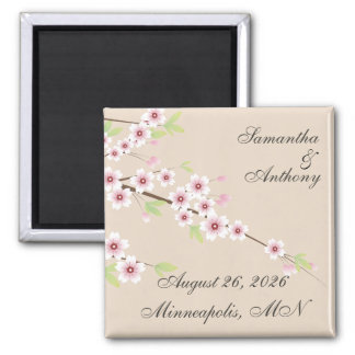 Cream Cherry Blossom Save the Date Magnets