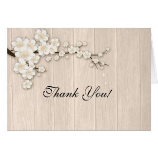 Cream Cherry Blossoms on Wood Greeting Card
