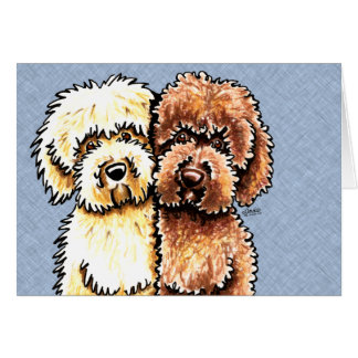 Cream Chocolate Labradoodles Card