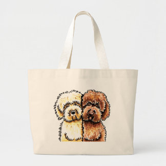 Cream Chocolate Labradoodles Large Tote Bag