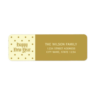 Cream Classic Decorative Happy New Year Address Return Address Label