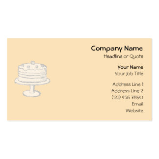 Cream Color Cake on Beige Background. Pack Of Standard Business Cards