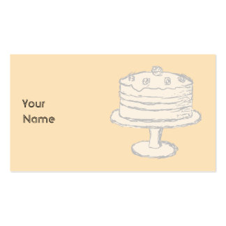 Cream Color Cake on Beige Background. Pack Of Standard Business Cards