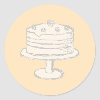 Cream Color Cake on Beige Background. Classic Round Sticker