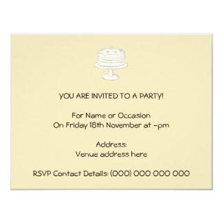 Cream Color Cake on Beige Background. 11 Cm X 14 Cm Invitation Card