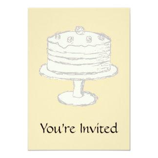 Cream Color Cake on Beige Background. 13 Cm X 18 Cm Invitation Card