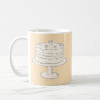 Cream Color Cake on Beige Background. Coffee Mugs