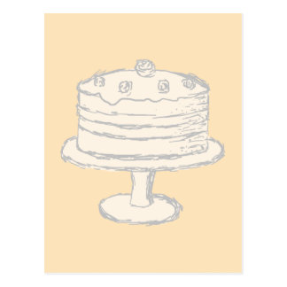 Cream Color Cake on Beige Background. Postcard