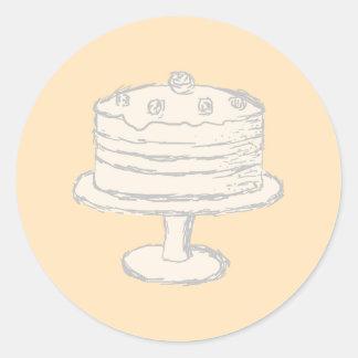 Cream Color Cake on Beige Background. Round Sticker