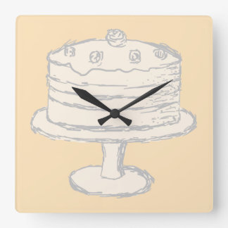 Cream Color Cake on Beige Background. Square Wall Clock
