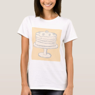 Cream Color Cake on Beige Background. T-Shirt