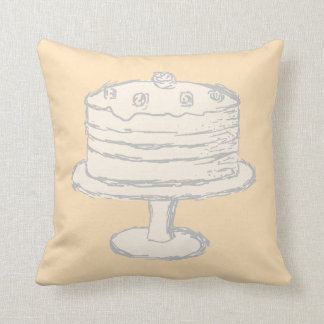 Cream Color Cake on Beige Background. Throw Pillow