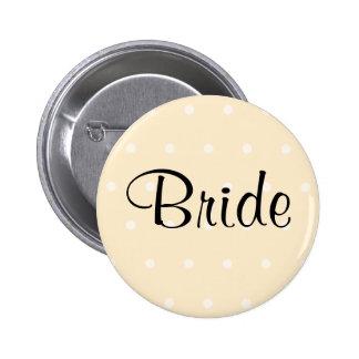 Cream Color Polka Dot Wedding Pinback Button