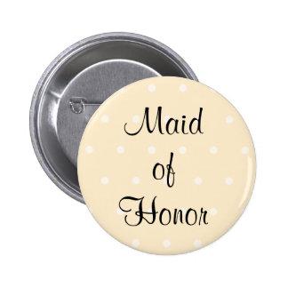 Cream Color Polka Dot Wedding Pinback Buttons
