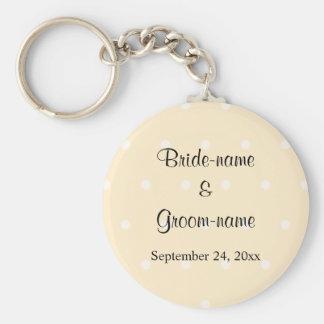 Cream Color Polka Dot Wedding Key Chains